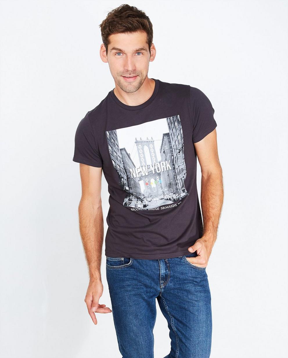 T-shirt met fotoprint - in donkergrijs - Quarterback